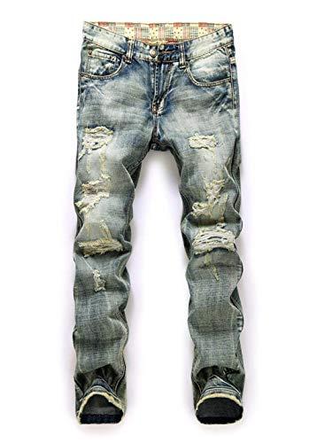 Pantalones Vaqueros Patched Destroyed para Clubwear Pantalones Casuales New Hombre Ropa Streetwear Pantalones Vaqueros Slim Fit para Hombre Pantalones Vaqueros Hellblau