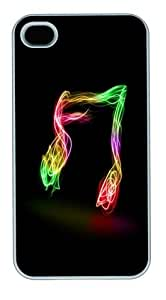 Colorful Music Note PC Case Cover for iPhone 4 and iPhone 4s White