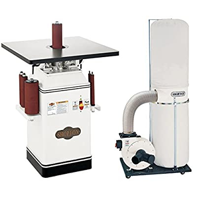 Shop Fox W1686 1 HP Oscillating Spindle Sander with W1685 1.5 HP Dust Collector