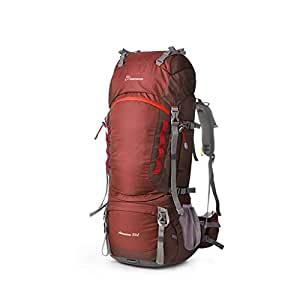 Outdoor Hiking Bag Large Capacity Heavy Load Mountaineering Bag Shoulders Men and Women Camping Rucksack 80L QYLOZ (Color : Red)
