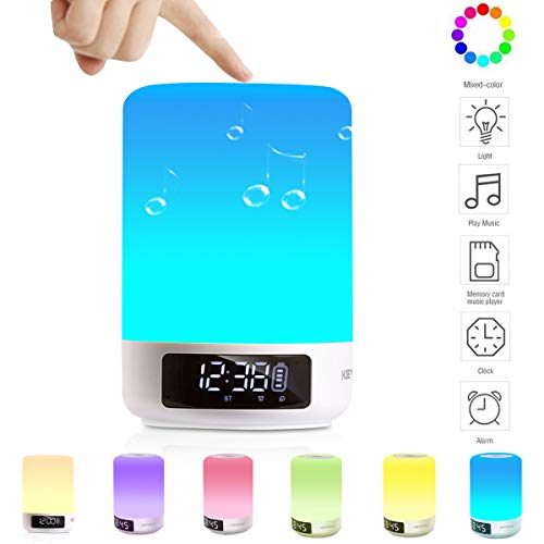 - Keynice Bluetooth Speaker, LED Night Light, Bedside Lamp, Touch Sensor Table Lamp, Dimmable Warm White Light & Color Changing RGB Night Light, Alarm Clock, Military Time display, Perfect for Kids Teen