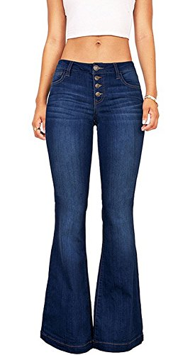 - Women's Juniors Trendy High Waist Slim Denim Flare Jeans Bell Bottom Pants Blue  US 10-12 US 10-12