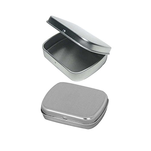 Cafe Cubano Rectangular Empty Hinged Tin Box Containers With Choice of Clear or Solid Hinged Top. Use For First Aid Kit, Survival Kits, Storage, Herbs, Pills, Crafts and More. (3, Solid Top: 2.5