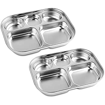 4//6 Divided Stainless Steel Snack Tray Food Portion Lunch Box Plate Silver