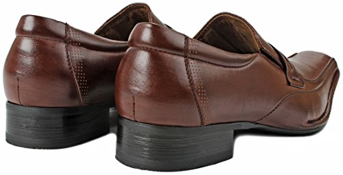 Mens Delli Aldo M-19229 Square Toe Strap Double Elastic Loafer Slip On Dress Shoes Brown 28d1LvaLw
