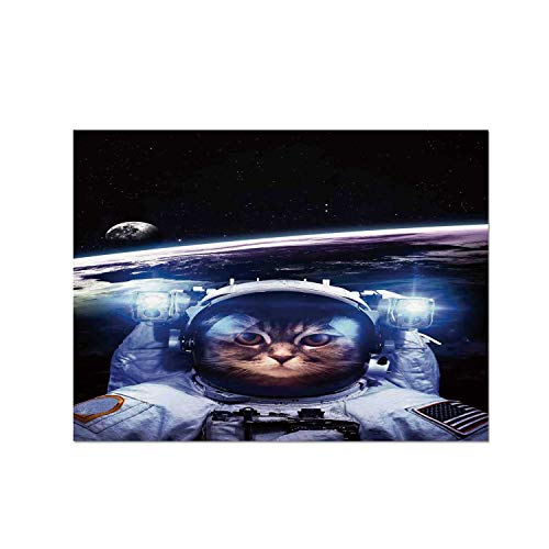 C COABALLA Cat Heat Resistant Table Mat,Funny Astronaut Cat Above Earth in Outer Space Explorer Kitty Mission Humor Art Image for Dining,15.7