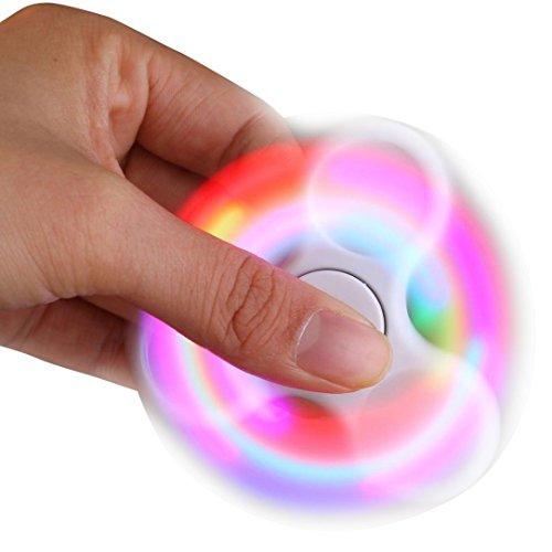 Iusun LED Light Fidget Hand Spinner Finger Toy EDC Focus Gyro Fast Shipping Gift (White)