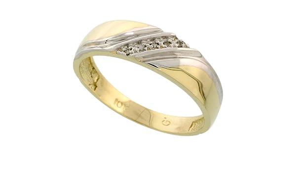 wide w// 0.03 Carat Brilliant Cut Diamonds 1//4 in. 6mm Sterling Silver Mens Diamond Band Size 12.5