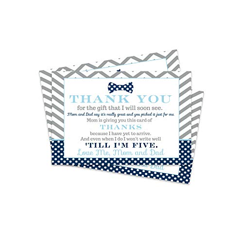 Bow Tie Baby Shower Thank You Postcard - 15 Cards Only