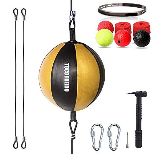 TOCO FREIDO Double End Ball with Pump and Boxing Reflex Ball with Headband, Perfect for Gym MMA Boxing Sports Punch Bag…