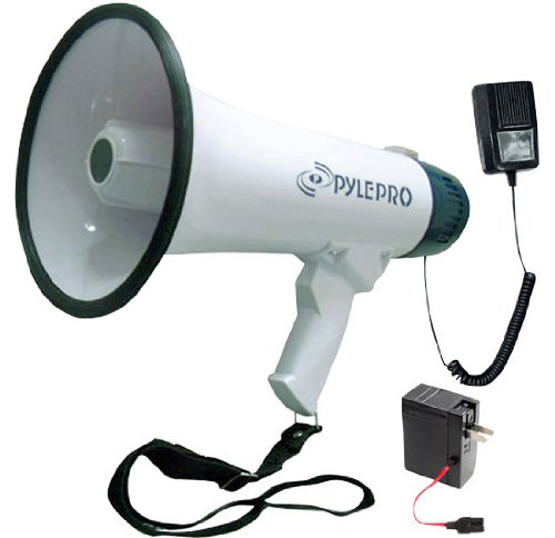 Pyle Megaphone Speaker PA Bullhorn - with Built-in Siren - 40 Watts Adjustable Volume Control & Rechargeable Battery - 10 Sec Record Ideal for Football, Baseball, Basketball Cheerleading Fans, Coaches ()