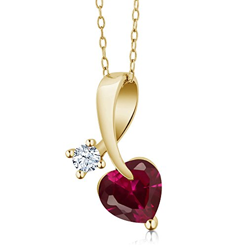 Gem Stone King 1.51 Ct Heart Shape Red Created Ruby 18K Yellow Gold Plated Silver Pendant ()