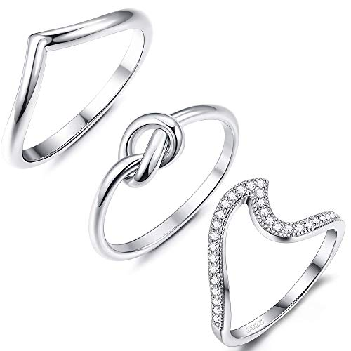 Adramata 925 Sterling Silver Wave Knot V Rings Set for Women Girls Thumb Band Fine Jewelry Gifts Set ()