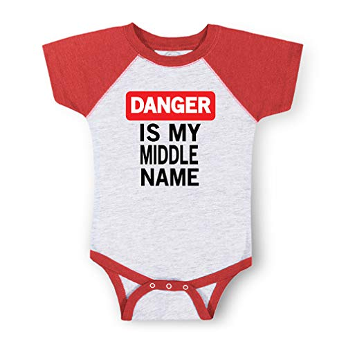 Danger is My Middle Name Short Sleeve Taped Neck Boys-Girls Cotton Baby Baseball Raglan Bodysuit Jersey - Gray Red, 6 Months