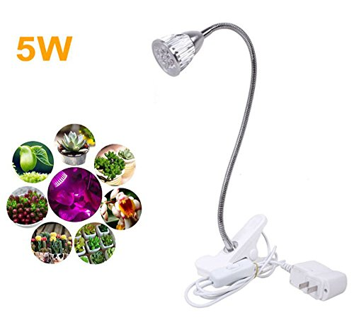 Janny_Labs NEW 5W LED Clip Desk Lamp Clamp Flexible Neck 360 Degree For Hydroponic Indoor Garden Greenhouse