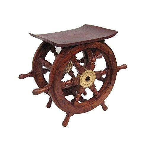 Nagina International Wooden Ship Wheel Home Decor Table | Pirate's Antique Brass Hub Motiff (18 Inches) by Nagina International