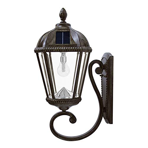 Gama Sonic GS-98B-W-WB Royal Bulb Lamp Outdoor Solar Light Fixture, Wall Mount Sconce, Weathered Bronze