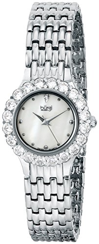 Burgi Women's BUR107SS Crystal Accented Silver Swiss Quartz Watch with White Mother of Pearl Dial and Silver Bracelet