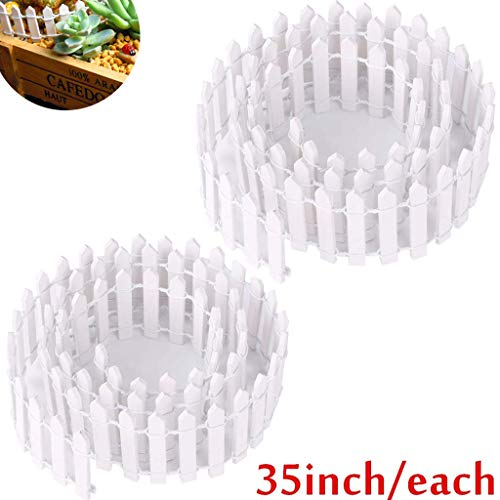 Ymeibe 35 Inch 2-Pack Miniature Picket Fence Fairy Garden Fence Wood Decorative Ornament Fence Dollhouse Plant Pot DIY Diorama Project Height 2 inch (Dollhouse Fence)
