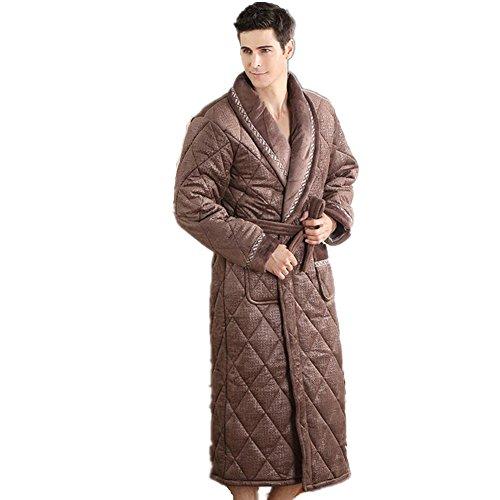 DMMSS Inverno in laminato cotone camicia da notte ispessimento lungo accappatoio Coral velluto Pigiami uomo
