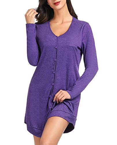 V Neck Button Up Nightshirt Long Sleeve Nightgown Button Front Pajamas Dress Shirts Classy Sleep Shirts for Women Purple Size M