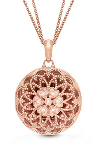 With You Lockets Rose Gold-Diamond-Filigree-Custom Photo Locket Necklace-18-inch Chain-The Elaine