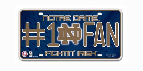 NCAA Notre Dame Fighting Irish #1 Fan Metal Auto Tag