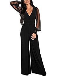 Maxwell Women's Sexy Wrap Top Wide Leg Long Sleeve Cocktail Jumpsuit Romper