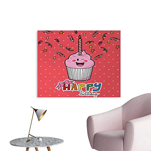 Tudouhoho Birthday The Office Poster Pink Strawberry Flavor Cupcake with Candle Cute Face Confetti Bow Tie and Dots Wall Paper Multicolor W28 -