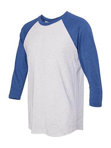 Next Level Apparel 6051 Unisex Tri-Blend 3 By 4 Sleeve Raglan - Vintage Royal & Heather White, Extra Large (Sleeve 3/4 Raglan Out T-shirt)