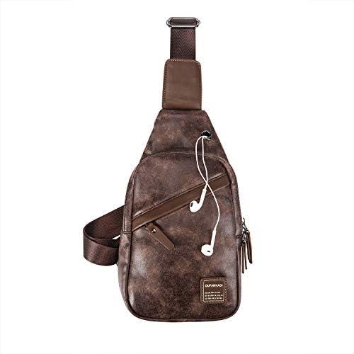 OUFANKADI Sling Backpack Bag Waterproof Leather Chest Shoulder Bag Crossbody Bag
