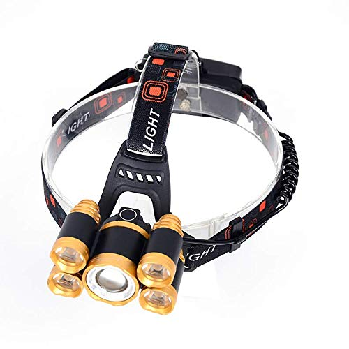 Lightweight 1000 Lumens Rechargeable Headlamp Waterproof T6 LED for Camping Tactical Hiking Walking Adjustable Elastic Band Backpacking Hard Hat Hunting Emergency