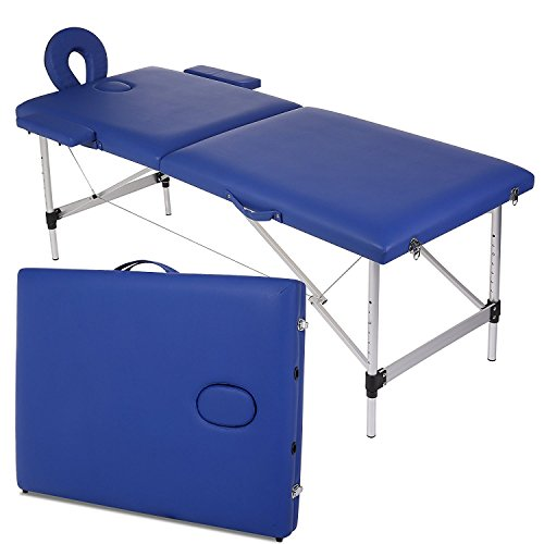 Garain Portable Massage Table Aluminum Frame PU Leather 2 Section Folding Salon Beauty Facial SPA Tattoo Bed Lightweight with Free Carry Case, Blue (US Stock)