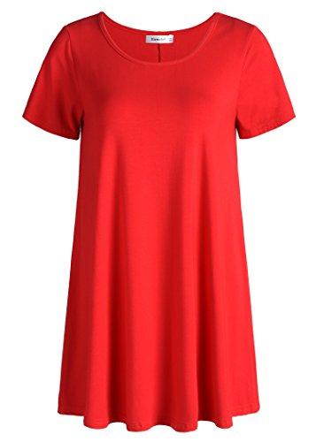 Esenchel Women's Tunic Top Casual T Shirt for Leggings 2X Red