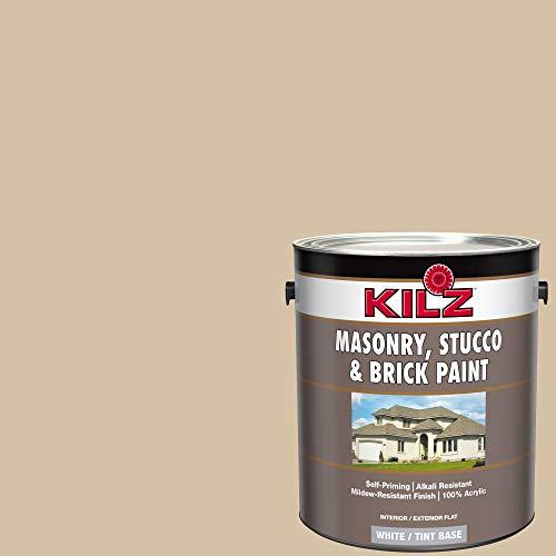 KILZ 13510801 L340711 Interior/Exterior Self-Priming Masonry, Stucco and Brick Flat Paint 1 Gallon Pismo Beach/Light Warm Tan (Paint Concrete Patio)