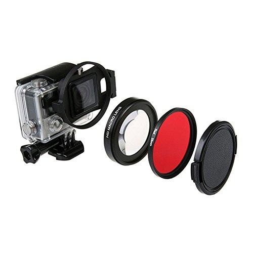 QKOO Dive Lens Kit for GoPro Hero 7 Black/Hero (2018)/Hero 6 Black/Hero 5 Black Original Waterproof Super Suit Housing Case - 58mm 16X HD Macro Close-up Lens + Diving Red Filter + Adapter Ring (Underwater Macro Lens)