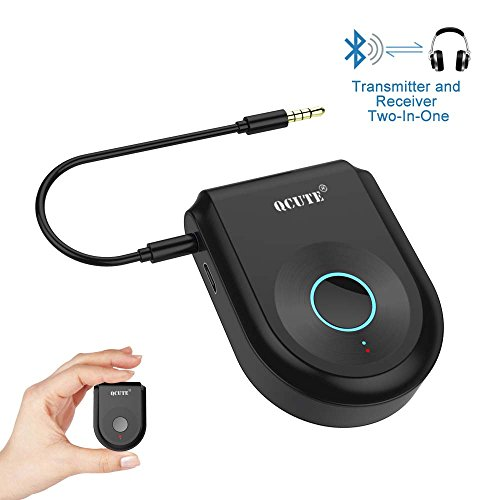 Bluetooth Transmitter,Qcute Bluetooth 4.1 Transmitter Receiver 2-in-1 Wireless Portable Bluetooth Adapter for Home/Car Stereo System, 3.5mm Audio devices, 2 Devices Simultaneously ( Black ) (Receiver Tv Portable)