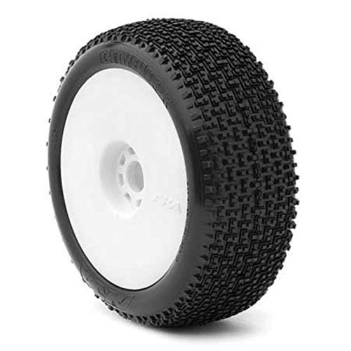 AKA Racing 14002SRW 1/8 City Block Buggy Soft Tires On White Evo Rims 2 ()