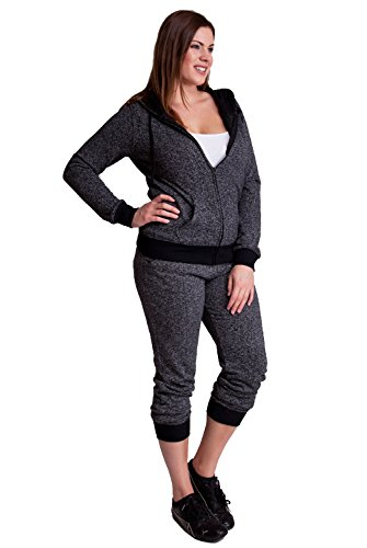 Charcoal Woman Plus Size Textured Knit Print Front Zipper Pocket Hoodie