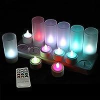 QSPORT PEAK Velas eléctricas y LED sin Llama 12 Velas Recargables Luces Decorativas Velas de Navidad con LED para Fiesta…