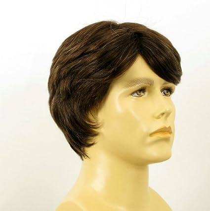 Peluca hombre cabello 100% natural marrón con pelo blanco OLIVIER 6SPW