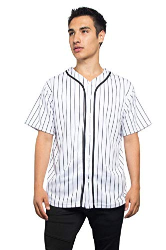 Men's Hipster Hip Hop Button Down Pin Striped Baseball Jersey Short Sleeve Shirt BJ44 - White - 4X-Large - N9F (Striped Baseball Jersey)