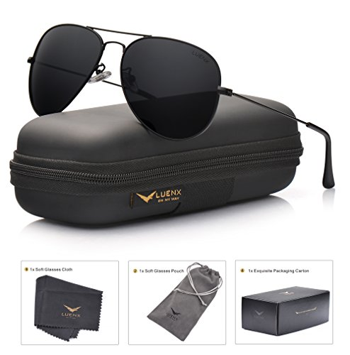 (LUENX Aviator Sunglasses Polarized Mens Womens Black Lens Black Metal Frame)