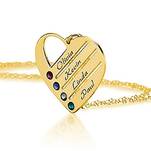 Love Pendant Heart Necklace with Simulated Birthstones – Heart Necklace – Custom Made with Any Names
