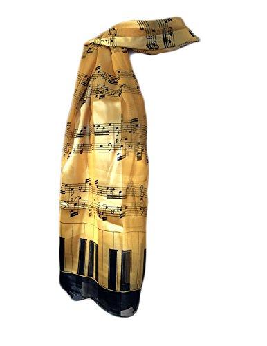 New Company Sheet Music Piano Keys Scarf - One Size (Gold)