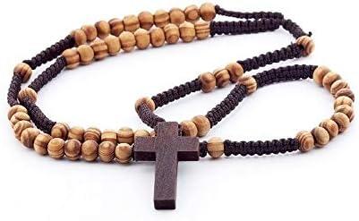 Rosario de madera de DonDon, con cuentas de madera y cruz marrón oscura