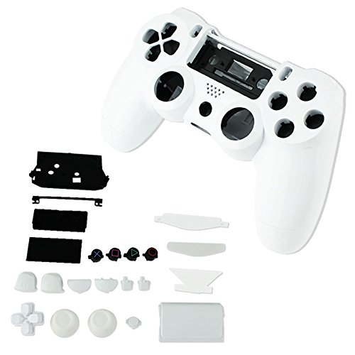 SQDeal Housing Game Front Back Controller Shell Polished Glossy Case Cover Protective Skin Replacement Part for Sony PlayStation 4 PS4 Controllers - White (Playstation 4 Controller Housing)