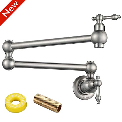 WOWOW Pot Filler Faucet Wall Mount Commercial Sink Faucet Folding Kitchen Faucet Lead-free Restaurant Faucets Brass 2 Handles Brushed Nickel Double Joint Swing Arm Kitchen Faucet ()