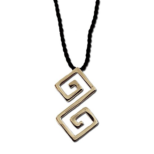 Sterling Silver Large Double Greek Key Pendant with Black Cord (40mm)