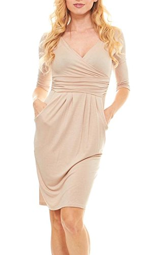Seranoma Womens Basic V-Neck Sleeve Dress - 3/4 Sleeve Wrap Pencil Dress with Pockets(M,Khaki) ()